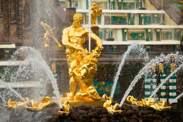 Viaggio in Russia, fontana di Sansone a Peterhof, vicino a San Pietroburgo