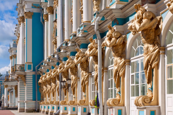 Tour San Pietroburgo, Palazzo di Caterina dettaglio facciata, di Pushkin (tsarskoe selo)