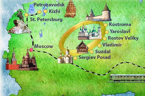 La mappa dell'Anello d'Oro in russia